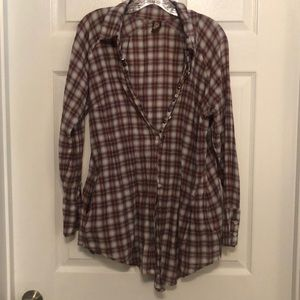 Free People Plaid Button up Short, size 12